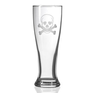 Hipchik Home Skull and Cross Bones Beer Pilsner (Set of 4 Glasses)