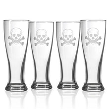 Load image into Gallery viewer, Hipchik Home Skull and Cross Bones Beer Pilsner (Set of 4 Glasses)