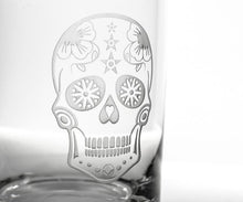 Load image into Gallery viewer, Hipchik Home Sugar Skull Stemless Wine Tumbler (Set of 4 Glasses)