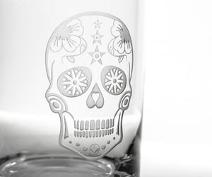 Hipchik Home Sugar Skull Stemless Wine Tumbler (Set of 4 Glasses)