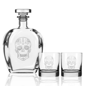 Hipchik Home Sugar Skull Whiskey Decanter and Rocks Glasses (3 Piece Gift Set)
