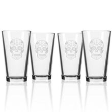 Load image into Gallery viewer, Hipchik Home Sugar Skull Pint (Set of 4 Glasses)