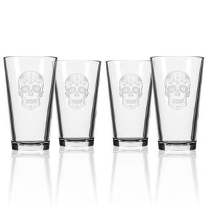 Hipchik Home Sugar Skull Pint (Set of 4 Glasses)