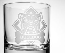 Load image into Gallery viewer, Hipchik Home Woof! Bulldog On the Rocks (Set of 4 Glasses)