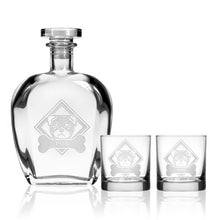 Load image into Gallery viewer, Hipchik Home Woof! Bulldog Whiskey Decanter and Rocks Glasses (3 Piece Gift Set)