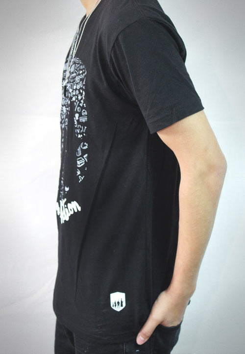 Men Black LIA Pattern T-Shirt
