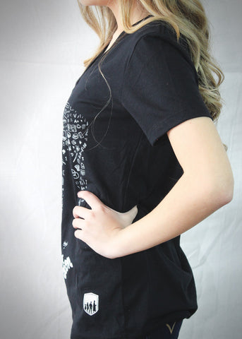 WOMEN BLACK LIA PATTERN SHIRT