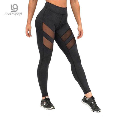 Ladies Mesh High Waist Workout Leggings Fitness