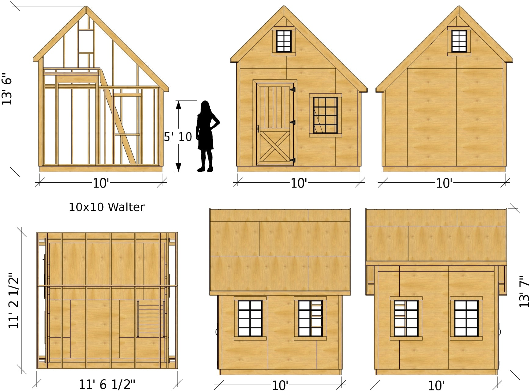 Walter Shed Plan 2 Sizes Gable Garden Shed W Loft