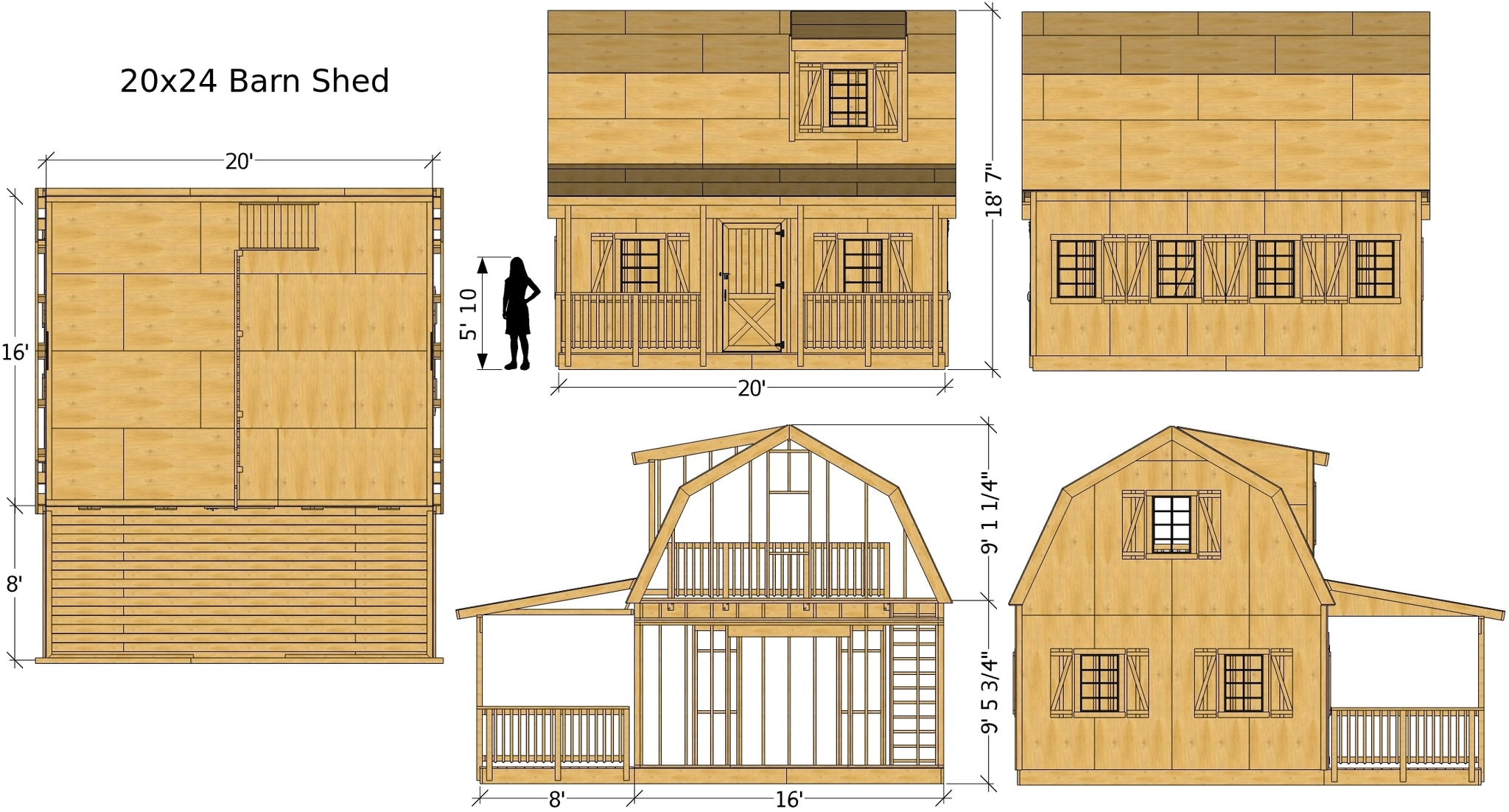 Diy Barn Shed Plans 3 Sizes 2 Story Front Porch Design