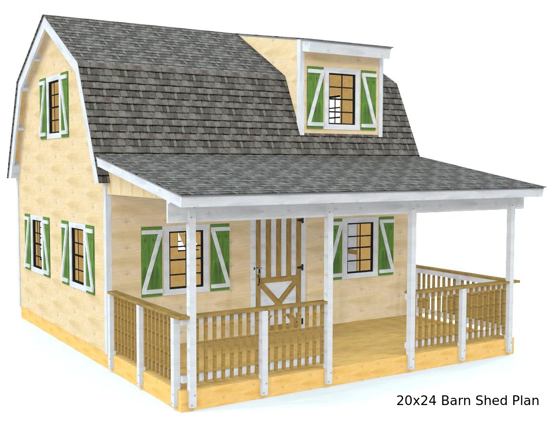Diy Barn Shed Plans 3‑sizes 2 Story Amp Front Porch