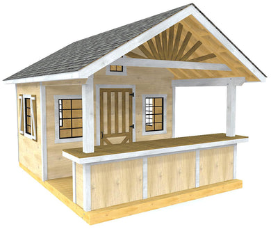 Wooden shed plan with bar and gable roof