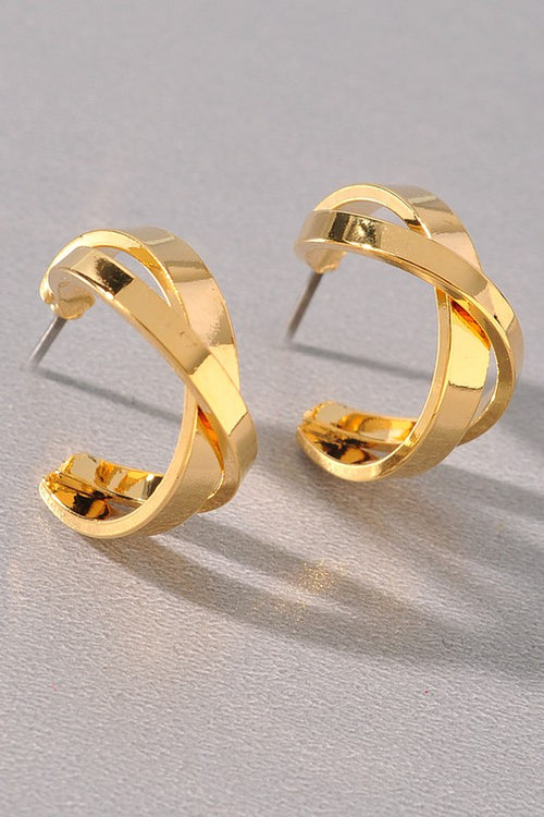 Gold Criss-Cross Hoops