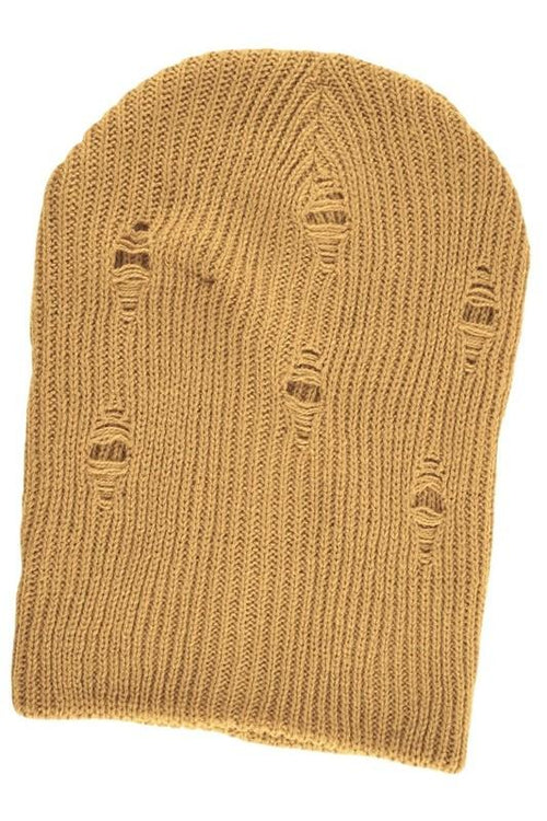 Distressed Knit Beanie - Camel