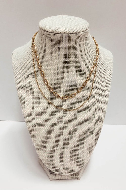 Block Layer Double Chain Necklace