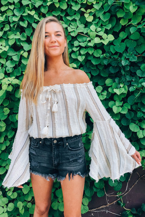 Textured Stripe Off the Shoulder Top