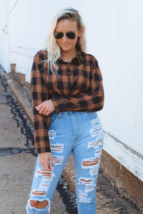 Harley Plaid Twist Top