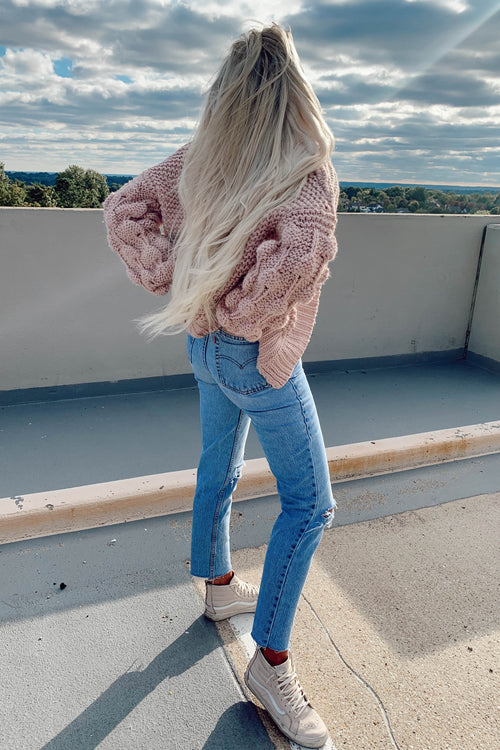 Rose Bubble Sleeve Sweater