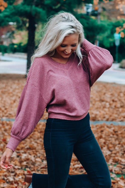 V Neck Waffle Knit Thermal Top - Wine