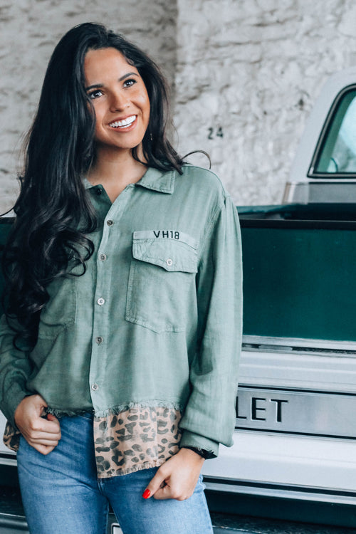 Army Leopard Button Down Top