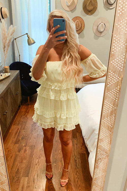 Lemon Ruffled Mini Dress