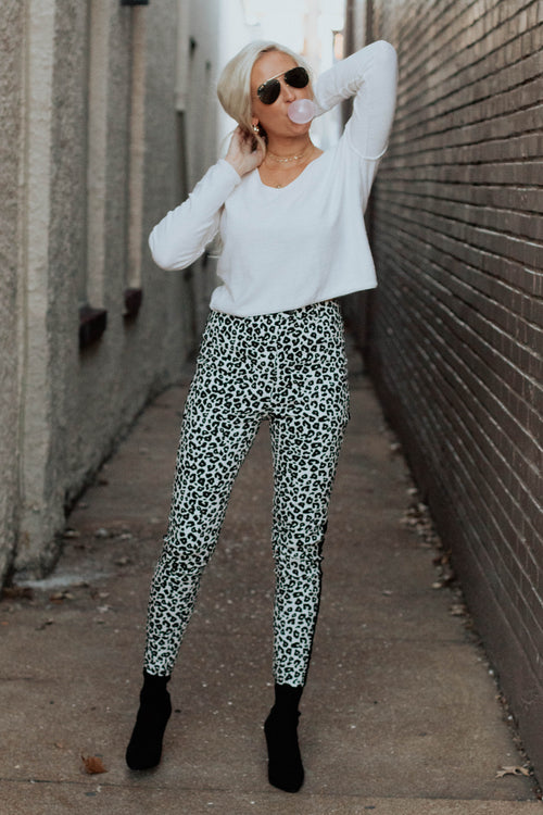 Black and White Leopard Pants