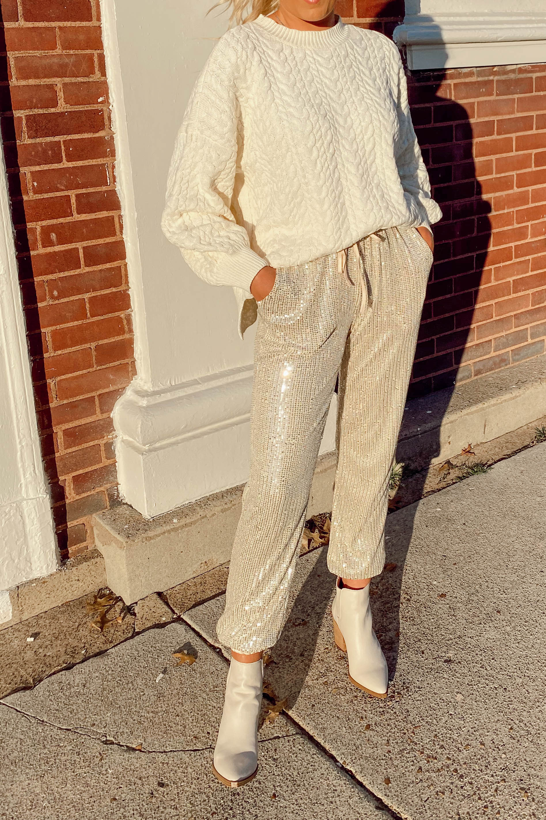 Champagne Sequin Jogger Pants