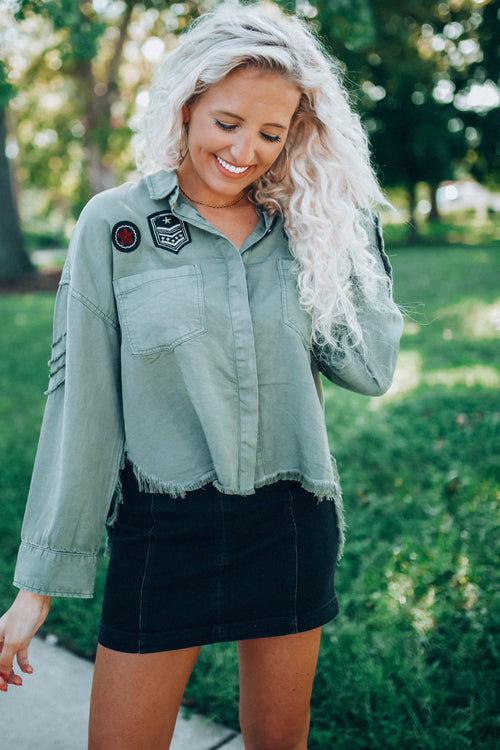 Oversized Crop Army Top