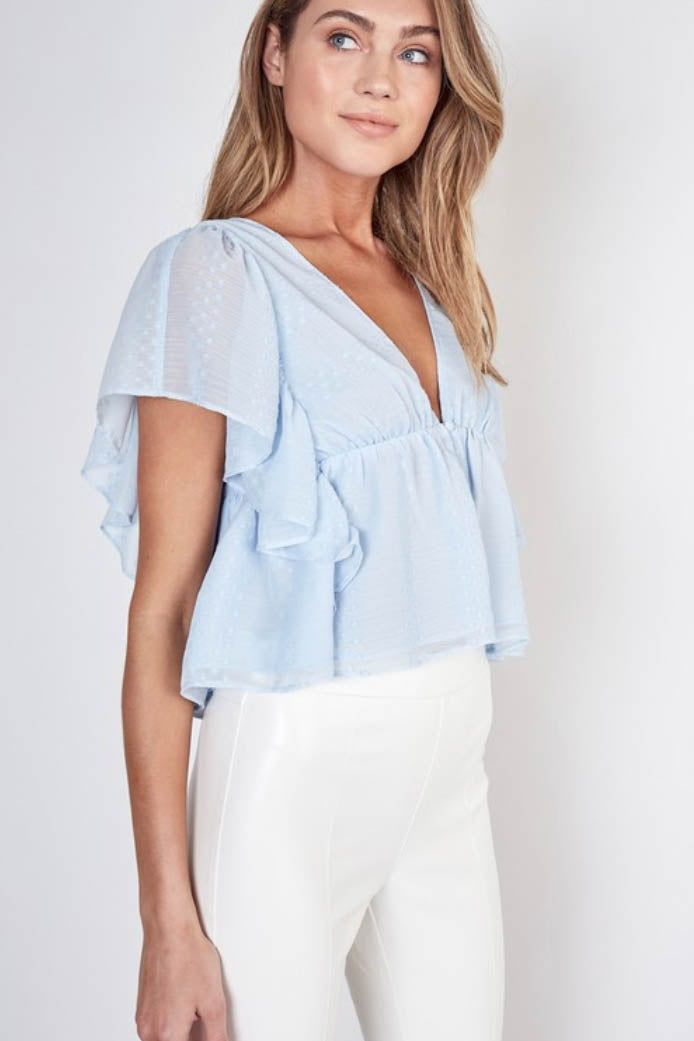 Baby Blue Textured Ruffle Top