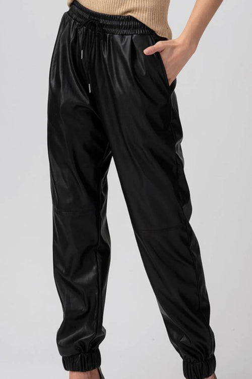 Black Leather Pocket Joggers