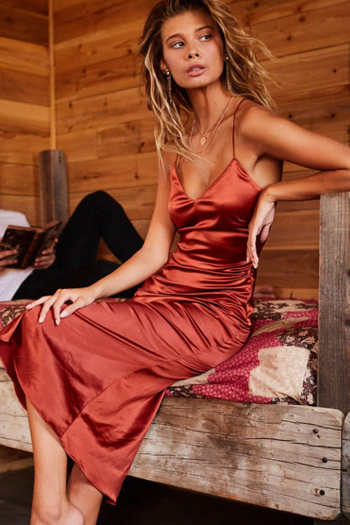 Rust Slip Midi Dress