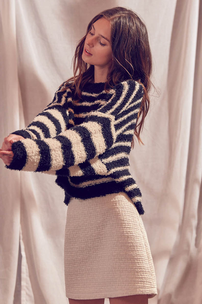 Fuzzy Striped Pullover Sweater