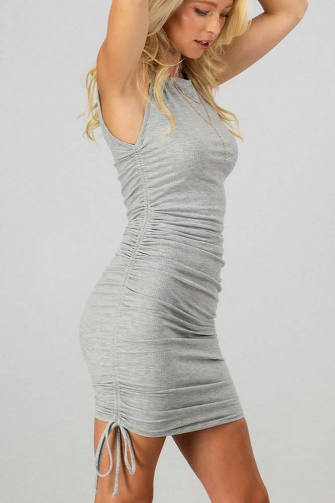 Ribbed Grey Drawstring Dress