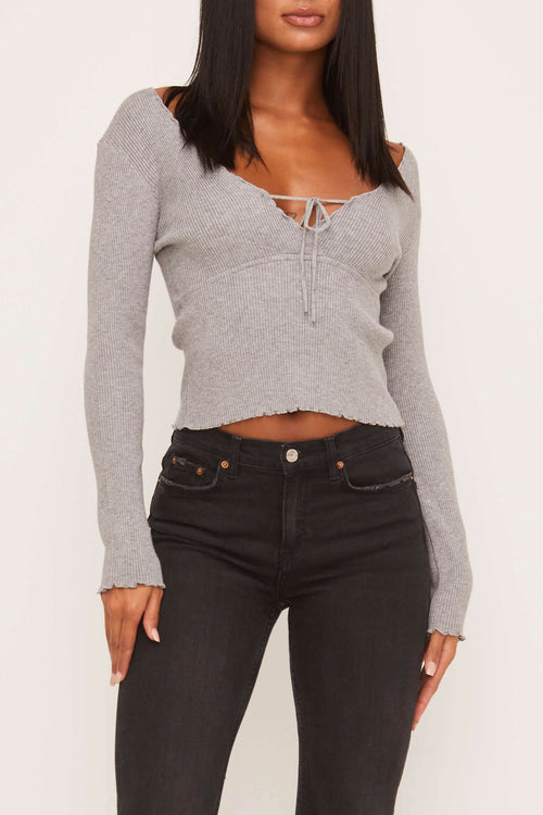 For the Frills Heather Grey Top