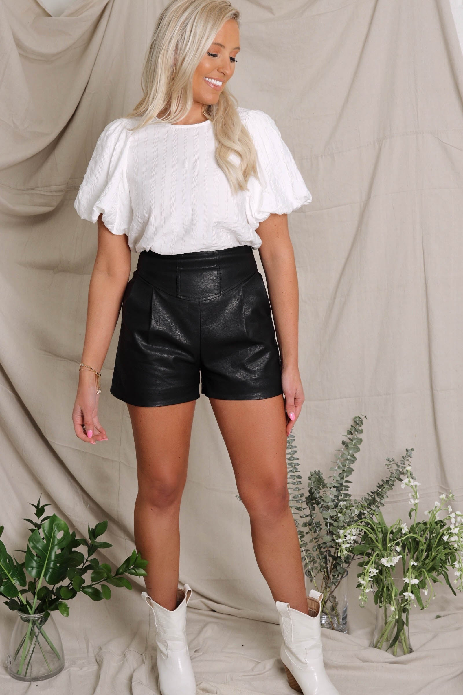 High-Waisted Leather Shorts