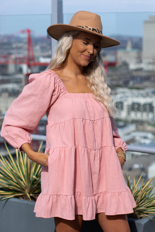 Pink Babydoll Pocket Dress