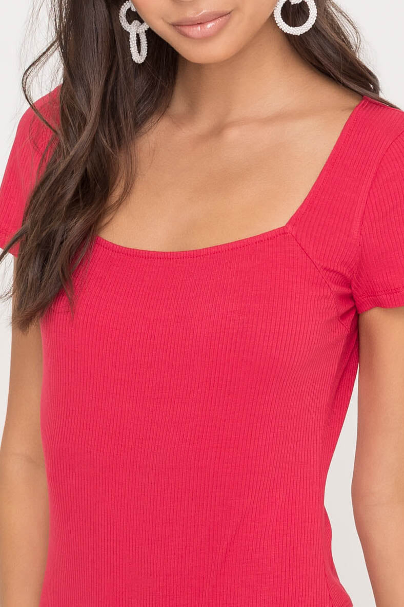 Fair and Square Neck Bodysuit - Red