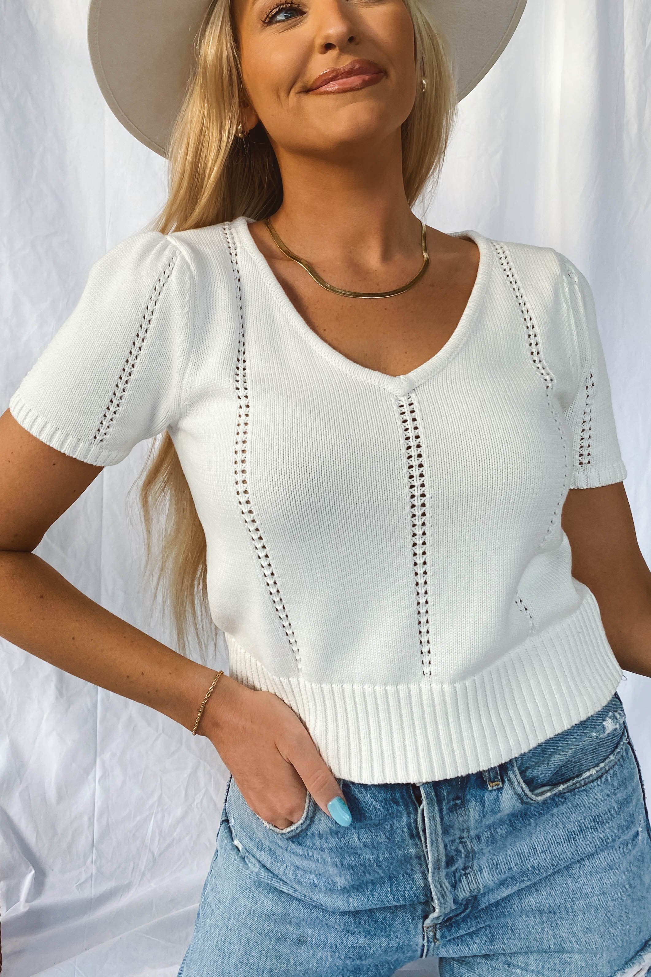 White Puff Sleeve Knit Top