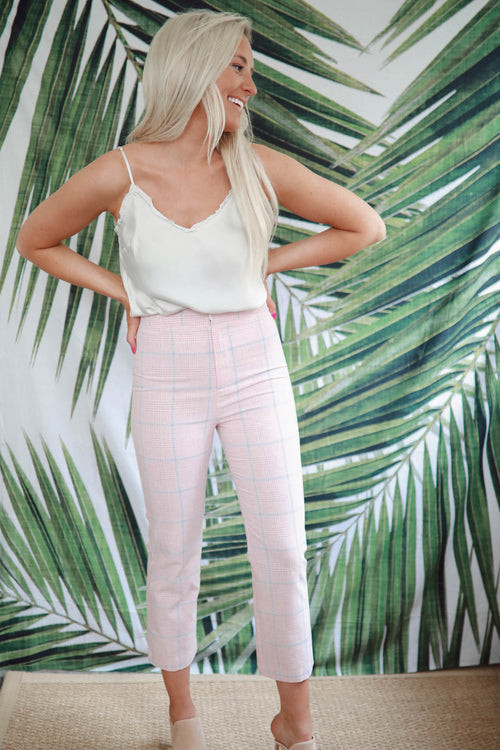Baby Pink Plaid Pants