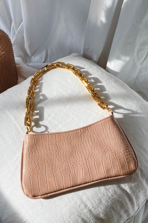 Chain Accent Crocodile Bag - Pink