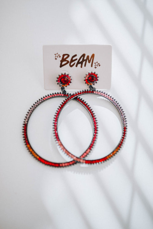 Josie Hoop Earrings - Red Multi