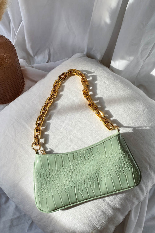 Chain Accent Crocodile Bag - Mint
