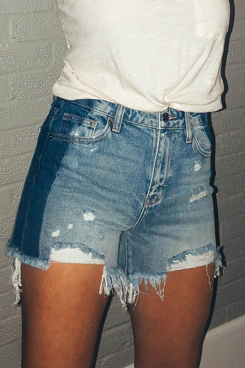 Medium Wash Two Tone Cut Offs