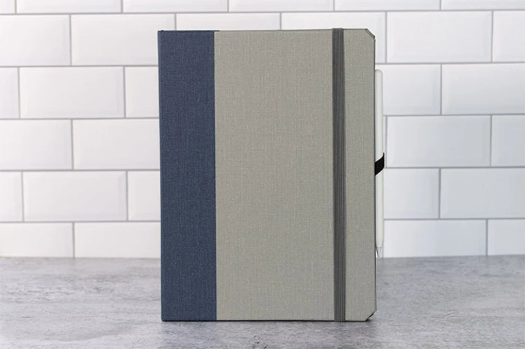 Rich Two Tone Fabric iPad Cover - Blue and Grey - Elastic Closure