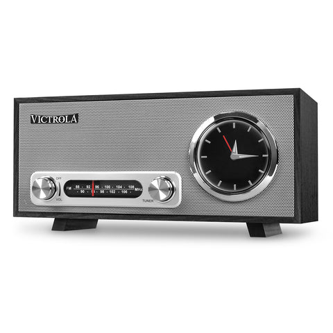 Victrola Bluetooth Analog Clock Stereo with FM Radio and USB Charging