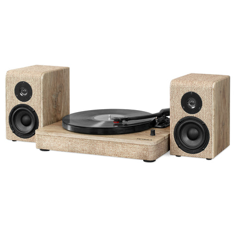 Victrola 50 Watt Wood and Linen Fabric Bluetooth Record Player with 3-speed Turntable