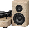 Image of Victrola 50 Watt Wood and Linen Fabric Bluetooth Record Player with 3-speed Turntable