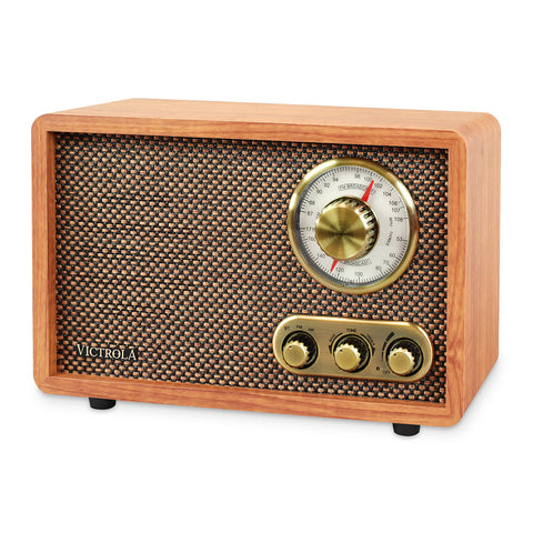 Victrola Retro Wood Bluetooth AM/FM Radio with Rotary Dial