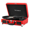 Image of Victrola Bluetooth Portable Suitcase Record Player with 3-speed Turntable, Red