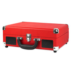 Victrola Bluetooth Portable Suitcase Record Player with 3-speed Turntable, Red
